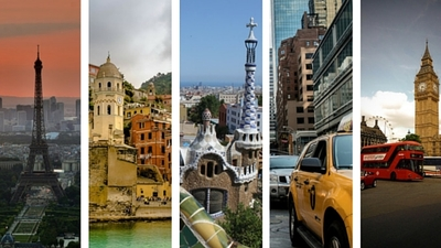 Paris, Amalfi Coast, Barcelona, New York, London